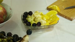 Fruits Salat With Chocolate Stock Footage