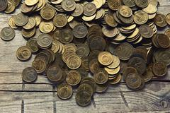 Old money of the Soviet union close up Stock Photos
