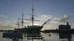 Portsmouth, UK-Historic HMS Warrior in Portsmouth on the Sunset. Stock Footage