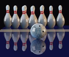 Realistic vector bowling ball and pins Stock Illustration