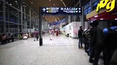 Interior of the airport in Kuala Lumpur, Malaysia Stock Footage