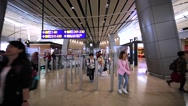 Panoramic view of interior of Duty free zone in Hong Kong airport Stock Footage