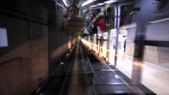 View of the railway track and station from the Hong Kong airport train Stock Footage