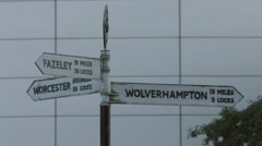 Sign Post at the Old Turn Junction on Birmingham Canal Stock Footage