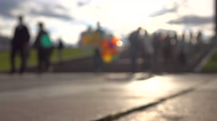 Blurred kids taking free balloons and playing with them. 4K background bokeh Stock Footage