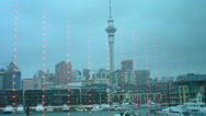 Auckland waterfront skyline Stock Footage