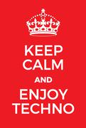 Keep Calm and enjoy techno poster Stock Illustration
