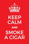 Keep Calm and smoke a cigar poster Stock Illustration