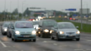 Unfocused view on traffic jams in Lithuania, Blurred scene Stock Footage
