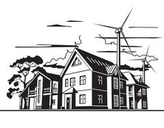 Country houses, alternative energy Stock Illustration