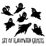 Halloween Ghosts Silhouettes Stock Illustration