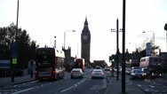 Big Ben on a sunset and traffic Stock Footage