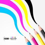 CMYK pencils.Trace left by CMYK pencils Stock Illustration