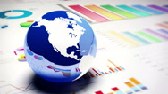 4k,rotating earth model on the finance pie charts & business trend diagrams. Stock Footage