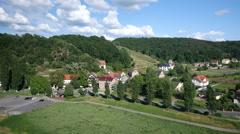 Aerial shot of rural german town Stock Footage