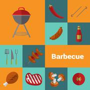Barbecue grill icons set. BBQ concept. Piirros