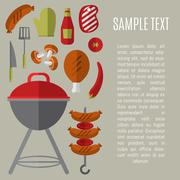 Barbecue grill card, design template. Piirros
