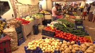 Counters full of fruits and vegetables Stock Footage