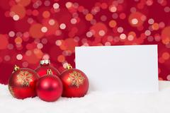 Red Christmas balls card wishes copyspace Stock Photos