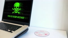 Infected Computer Virus Malware Warning On Screen Stock Footage