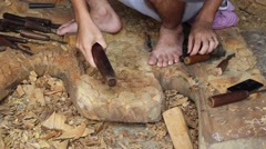 Chiseling Wood Stock Footage