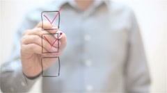 Checklist, tick in boxes. Man writing on transparent screen Stock Footage
