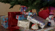 New year presents under the new year tree Stock Footage