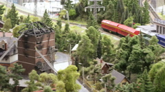Container rail past the burned-out building Stock Footage