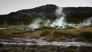 Steam Rising from Icelandic Geothermal Activity Stock Footage