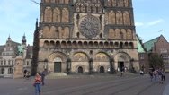 4k St. Peter's Cathedral outside view tilt up in Bremen city Stock Footage