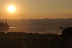 4k:  afternoon video timelapse, sunset on the Ohrid lake - Macedonia Stock Footage
