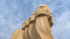 BARCELONA  ROOF of LA PEdRERA Stock Footage