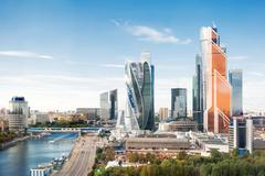 MOSCOW, RUSSIA - Large panorama view of Moscow City buildings, modern busines Stock Photos