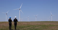 Windpower Plant Farm Visit Business Men Talk Analyzing Wind Turbines Teamwork Stock Footage