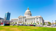 Time-lapse San Francisco City Hall Front Angled Grass Daytime Stationary 4k Stock Footage