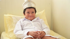 Portrait of a  cute child after circumcision operation 2 Stock Footage