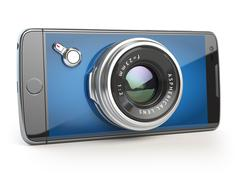 Smartphone digital camera concept. Mobile phone with camera lens isolated on Stock Illustration