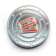 Movie, cinema or video vintage concept. Tickets on retro film reel or caniste Stock Illustration