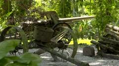 SOLOMON ISLANDS SIDE VIEW FIELD GUN Stock Footage