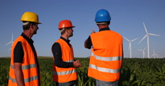 Successful Wind Turbines Happy Workers Teamwork Alternative Energy Improvement Stock Footage