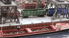 Loading of scrap metal in the port Stock Footage