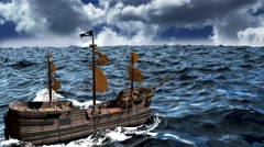 Pirate Ship on a Big Ocean Stock Footage