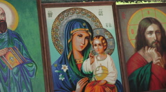 Embroidered icons of Orthodox saints Stock Footage