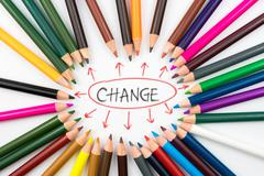 Colouring pencils in circle arrangement with message Change Stock Photos