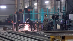 Metalworking with Angle Grinder at the Metal structures plant. Stock Footage