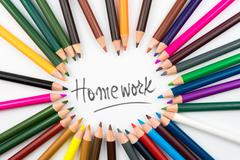 Colouring pencils in circle arrangement with message Homework Stock Photos
