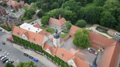 Aerial shot of old building complex Stock Footage