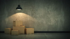 New home concept. Boxes in empty room Stock Footage