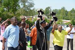 Demonstrators in Ferguson, MO Kuvituskuvat