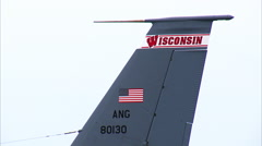Boeing KC-135 Tanker Jet Tail Wisconsin Stock Footage